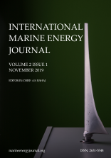 Cover of IMEJ vol 2 issue 1. Picture of tidal turbine blade.